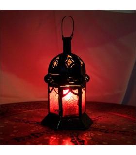 Laterne Kerze hex - Kristalle - 5 Farben