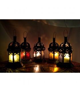 Bougie lanterne hex couleurs - cristaux - 5