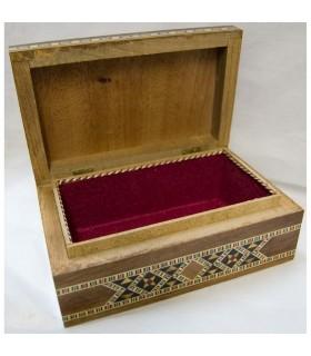 Caja Baúl Rectángular - Taracea de Siria - Terciopelo