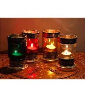 Kerze-Halter-Glas zylindrisch mit Alpaca - verschiedene Farben