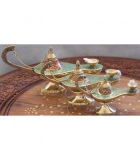 Genio aladino lampada ad olio - stoppino di cotone - bronzo - novità