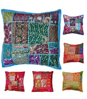 40 cm Patchwork Cushion - Cotton - Various Colors