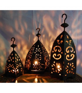 Small Hexagonal Iron Light for Candle - 3 Sizes - NEW
