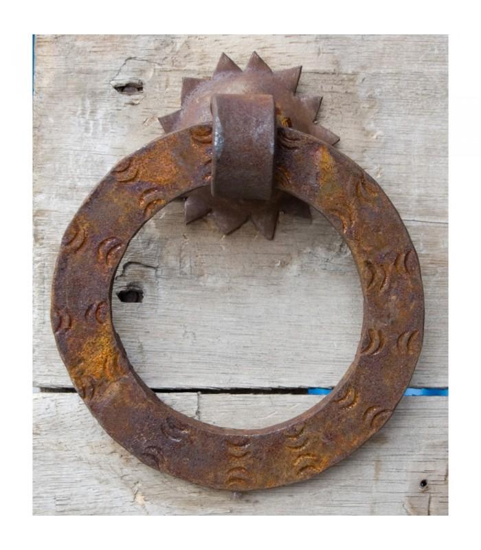 Llamador Forja Redondo Plano 12.5 cm - Oxidado - Embellecedor