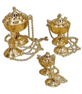 Cadeia de cálice incensário - bronze ou níquel - 3 tamanhos