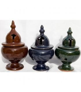 Incensário de cerâmica incenso de Al-Andalus - grão - vidrados