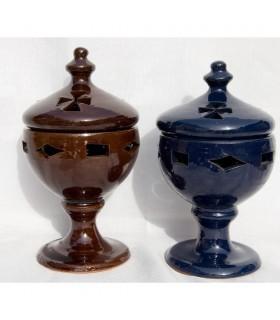 Turibolo incenso ceramica calice - grano - smaltato