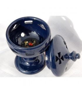 Incensário de cerâmica incenso cálice - grão - vidrado