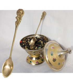 Encens en grain - cuillère de coulée de bronze 10cm