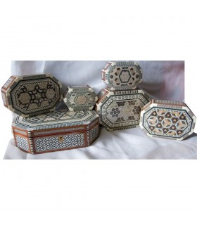 Oval jewelry box white inlayed Egypt - 6 sizes