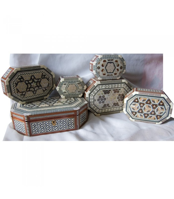 Egypt White Oval Marquetry Jewelry Box - 6 Sizes