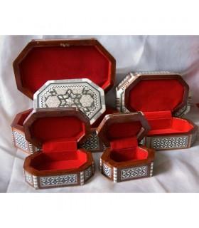 Caixa de jóias oval branco Egito inlayed - 6 tamanhos