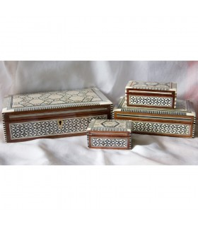 Egypt White Rectangular Marquetry Jewelry Box - 6 Sizes
