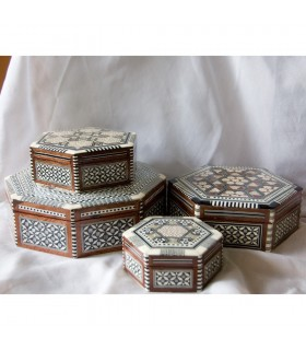 Egypt White Octogonal Marquetry Jewelry Box - 5 Sizes