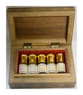 5 pack perfume corpo árabes + caixa de madeira incrustada de Egipto
