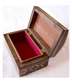 Caja Baúl Rectángular Oscura - Taracea de Siria - Terciopelo