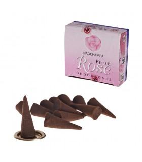 Coni incenso Rosa Fresca - SATYA - 12 unità - include Base