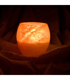 Natural salt candle holder Himalaya - polished - Feng Shui - NOVELTY