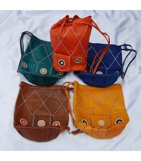 Bolso de Cuero Artesano - Congo - Varios Colores - 2 Tamaños