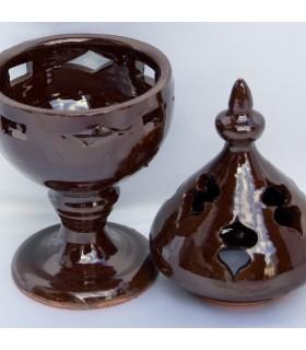 Incensário de cerâmica incenso de vidro moçárabe - grão-
