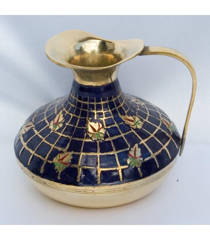 Bronze Vase - Scenery blues and Flowers