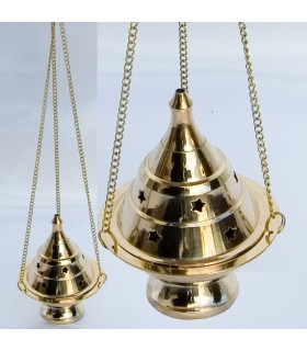 Incense burner censer - bronze - 30 cm chain