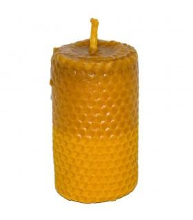 Vela cera de abelha virgem mão crafted redondo - 5 x 9 cm