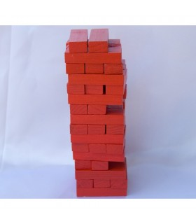 Puzzle wooden tower red - wit - Jenga - puzzle - 15 cm