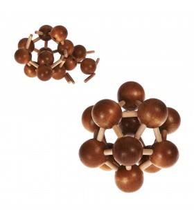 Puzzle wood molecules - wit - puzzle - 10 cm