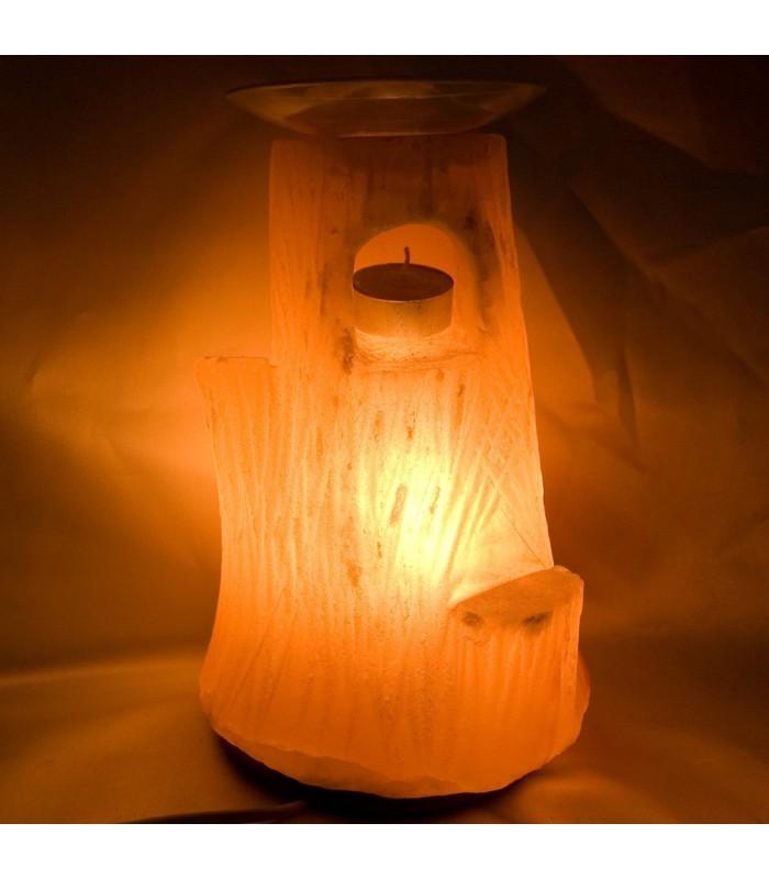 Lámpara Bambú - Quemador - Sal Pulida - Natural - Himalaya