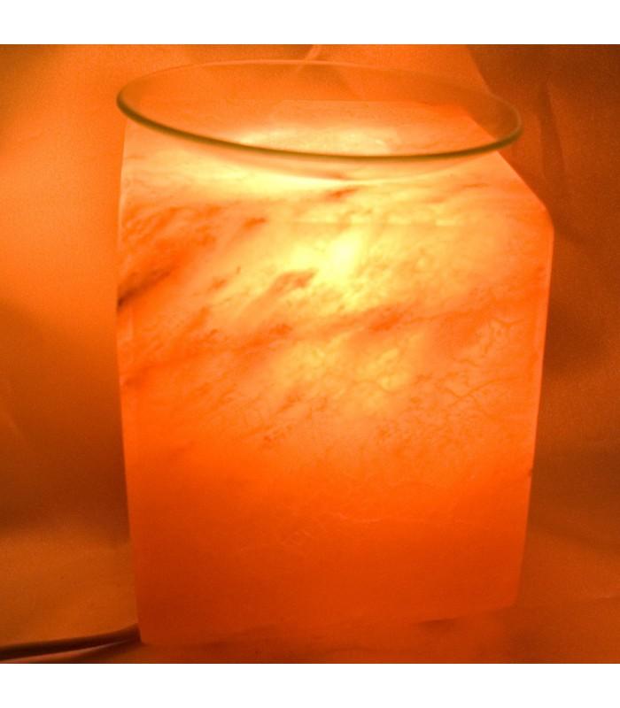 Lámpara Cubo de Sal Pulida - Quemador Perfume Natural - Himalaya