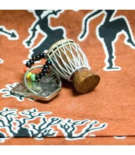 Corde de Keychain Djembe africain - la peau - bois - miniature-