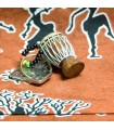 Keychain Djembe African-miniature-wood-skin-rope