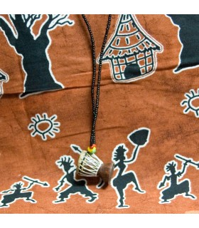 Corde de bois - peau - Djembe Africano-Artesano - 25 cm - pendentif