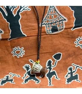 Pendant Djembe Africano-Artesano - 25 cm - wood - skin - rope