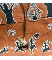 Couro Africano Djembe pingente Artisan-25-cm-Madeira - - Strings