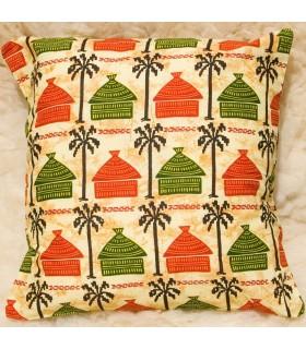 Coussin ethnique africaine - tissu 100 % coton - conception maisons jaunes