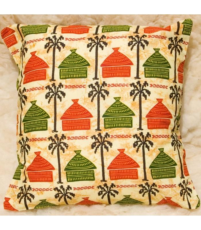 Cojín Africano Etnico- Tela 100% Algodón -Diseño Casas Amarillas
