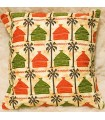Ethnic African Cushion Cover - 100% Cotton Fabric - Yellow Houses Design
