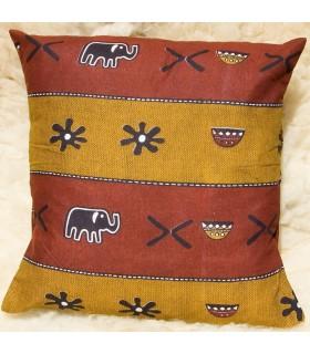 Almofada Tecido Africano Étnico 100% Algodão - Abóbora Design