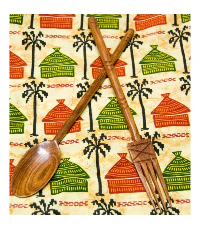 Cubiertos Africanos Artesanos - Grabados - Madera Teka - Mod 1