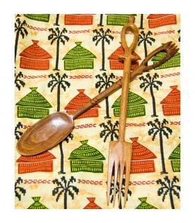 African craftsmen - prints - covered wood teak - 2 Mod