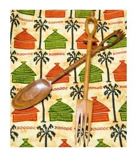 Cubiertos Africanos Artesanos - Grabados - Madera Teka - Mod 2