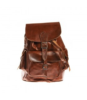 Backpack leather - African ethnic - various pockets - 3 sizes