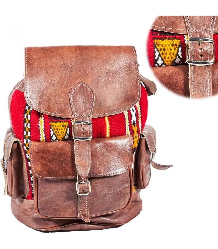 Mochila Cuero Tapíz - Artesanía Etnica Africana-Varios Bolsillos