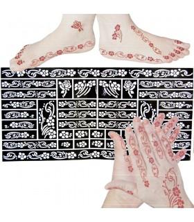 Modello adesivo tatuaggi henné - piedi e mani - 1 uso singola