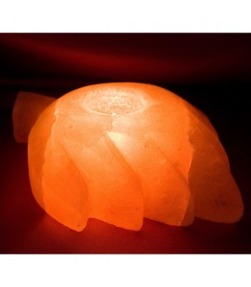 Kerze Halter Salz Blatt - natürliche Himalaya - gross - Feng Shui