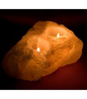Свеча держатель гималайской соли 2 отверстия - природные - брутто - Фэн-шуй