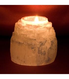 Bougie naturelle sélénite - minéraux brut - Feng Shui
