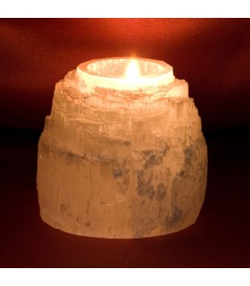 Natural Candle Holder Selenite - Mineral Bruto - Feng Shui